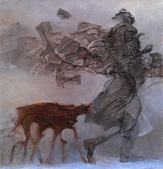 A guy being followed by a dog Drawing by Beksinski